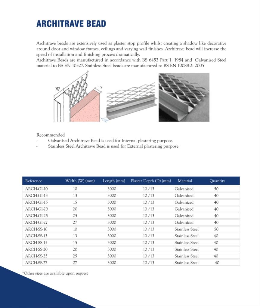 Architrave Bead in Dubai, United Arab Emirates - Metex