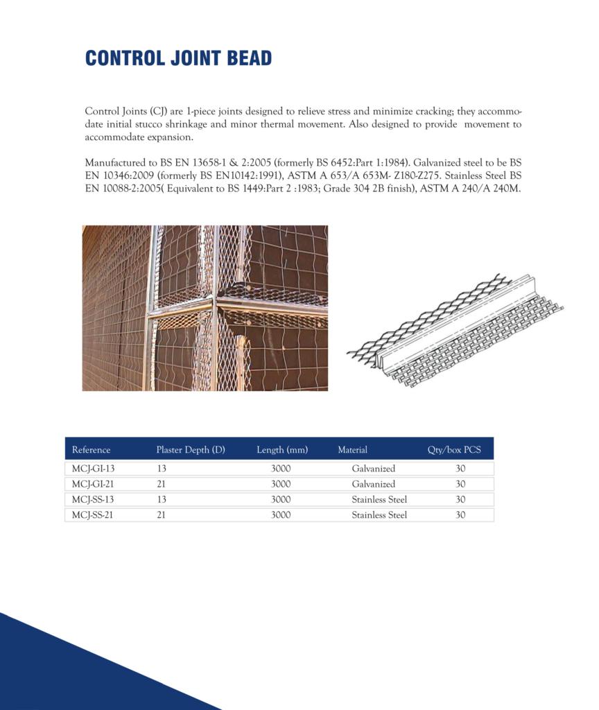 Control joint bead in Dubai, United Arab Emirates - Metex