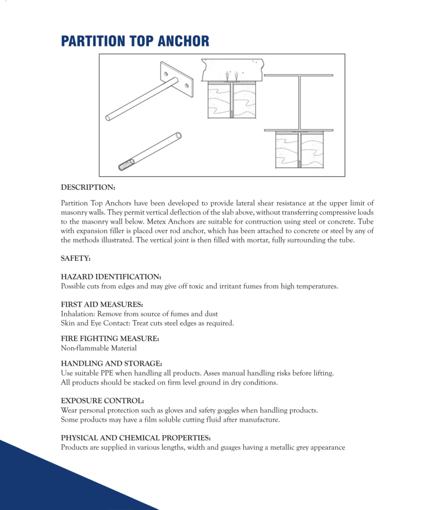 Partition Top Anchor   Ceiling and Partition in Dubai, UAE - Metex
